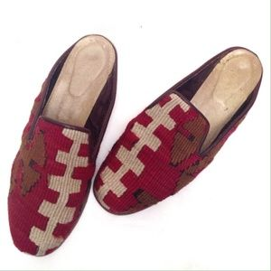 Vintage Kilim Red Tapestry Mules Slipper Shoes 10